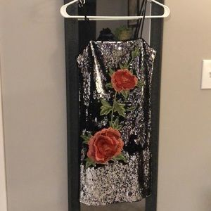 NWOT Silver sequin party dress!